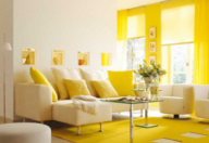 A yellow living room that represents the earth element.