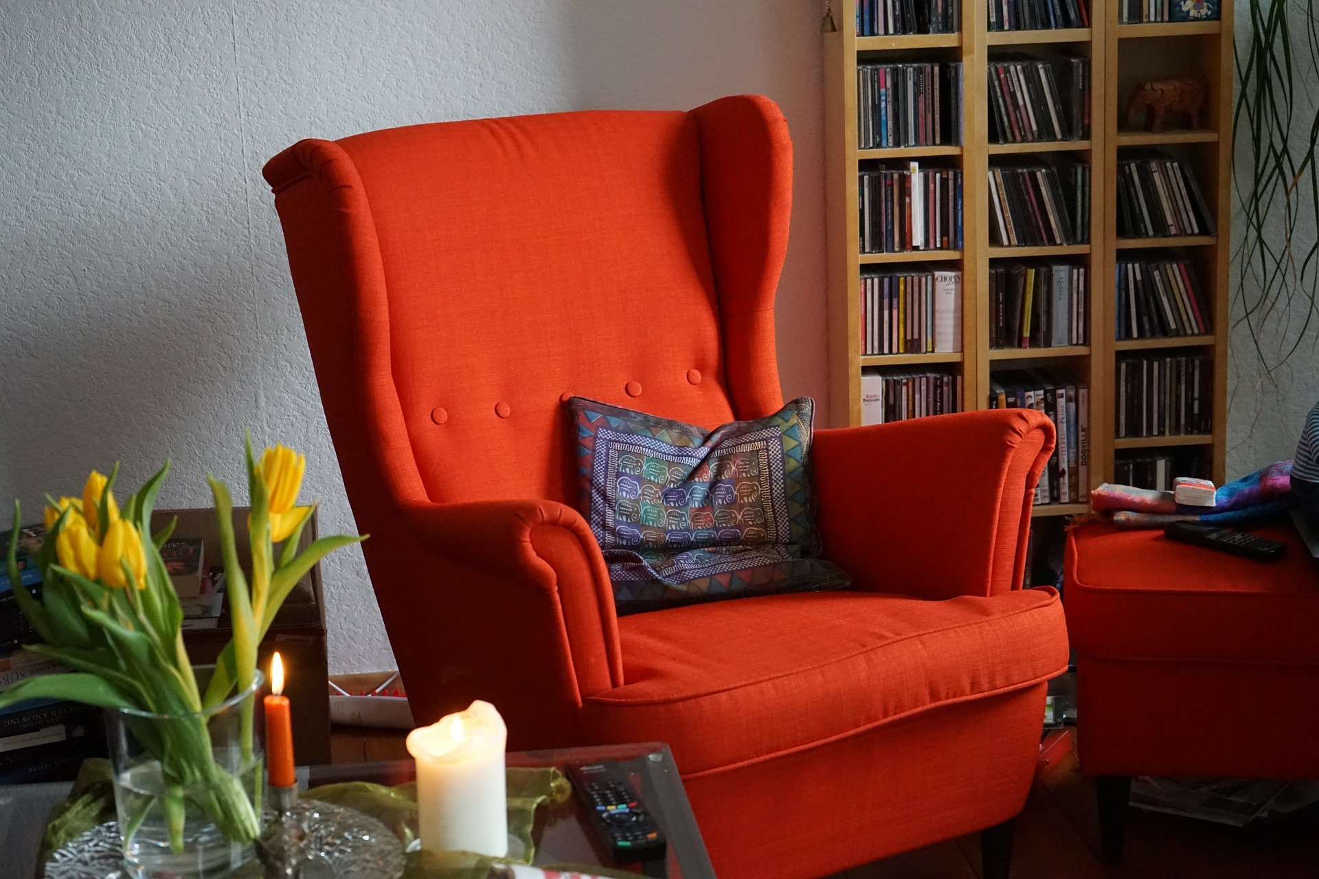 Red couch that represents the fire element.